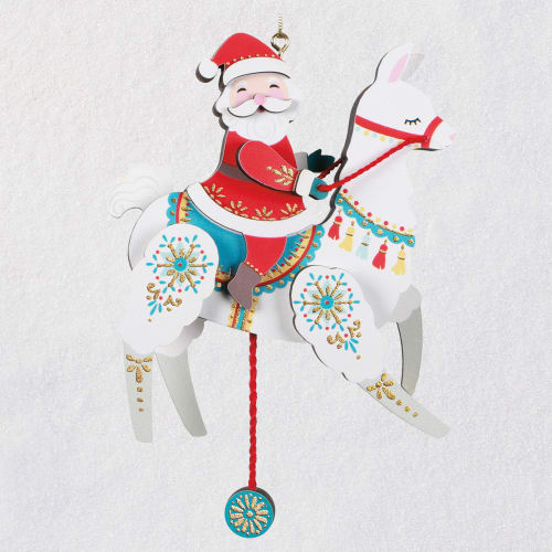 Pull-String Llama With Santa Wood Ornament