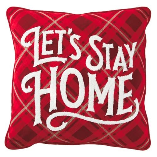 Let's Stay Home Plaid Pillow