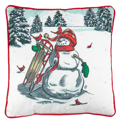 Christmas in Evergreen Snowman Pillow