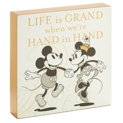 Disney Mickey and Minnie Hand in Hand Wood Quote Sign