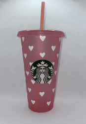 Pink with White Hearts Starbucks Tumbler