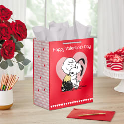 Peanuts® Charlie Brown & Snoopy Valentine's Day Gift Bag