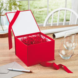Red Large Gift Box With Shredded Paper Filler
