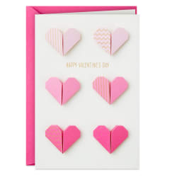 Pink and Gold Origami Paper Hearts Valentine's Day Card