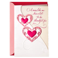 A Man Like Me Thankful for a Woman Like You Valentine's Day Card