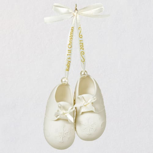 Baby's First Christmas Booties 2021 Porcelain Ornament