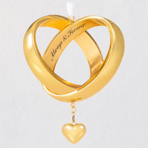 Always & Forever Anniversary Intertwined Wedding Bands Ornament