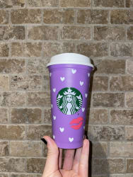 Colour Changing Starbucks Cup with White Hearts
