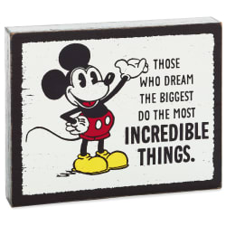 Disney Mickey Mouse Incredible Things Wood Quote Sign