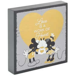Disney Mickey and Minnie Work of Heart Wood Quote Sign