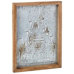 Disney Castle Happy Place Wood and Metal Quote Sign