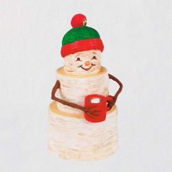 Cozy Birch Snowman Ornament