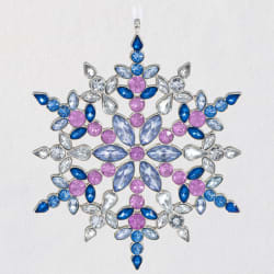 Stunning Snowflake Gemstone and Metal Ornament