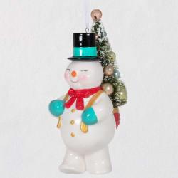 Vintage Snowman With Tree Porcelain Ornament