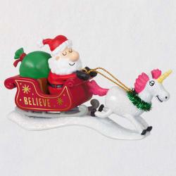 Just Believe Santa With Unicorn Ornament
