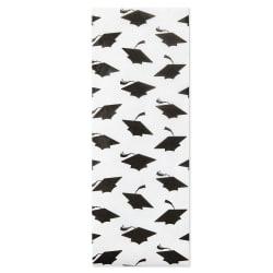 Black Grad Caps on White Tissue Paper, 6 sheets