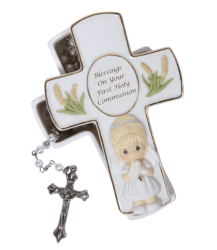 Precious Moments Blessings First Holy Communion Rosary Box, Girl