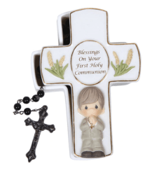 Precious Moments Blessings First Holy Communion Rosary Box, Boy