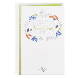 Wreath and Cross Religious First Communion Card