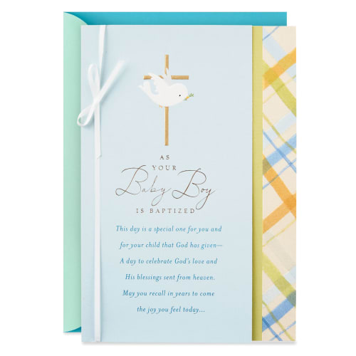 Dove With Gold Cross Religious Baptism Card for Boy