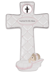 Precious Moments Baptized in His Name Porcelain Cross Girl