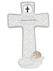 Precious Moments Baptized in His Name Porcelain Cross Boy