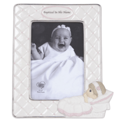 Precious Moments Baptized in His Name Porcelain Photo Frame Girl