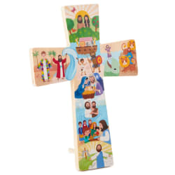 My Bible Stories Cross Wood Sign, 7.25x10.5