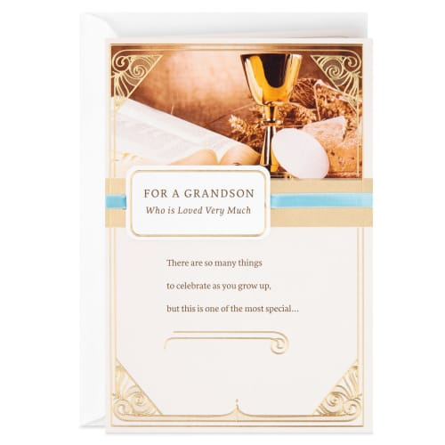 Asking God to Bless You Religious First Communion Card Grandson