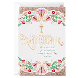 Thanking God for You First Communion Card for Granddaughter