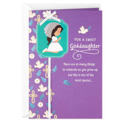 Asking God to Bless First Communion Religious Card Goddaughter