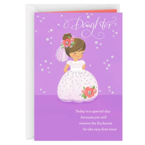 Full of Love for You First Communion Card for Daughter