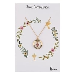Roman Gold with Pink Stone Communion Necklace