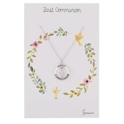 Roman Silver with Diamond Stone Communion Necklace