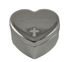 Silver Metal Heart Shape Trinket Box Communion