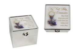 White and Silver Plated Communion Rosary Box