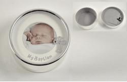 Round Silver Photo Baptism Trinket Box