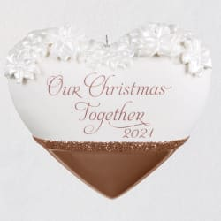 Our Christmas Together Heart 2021 Porcelain Ornament