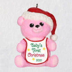 Baby Girl's First Christmas Pink Bear 2021 Ornament