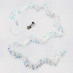 Miniature Decorative Tinsel Christmas String Lights, 9.5'