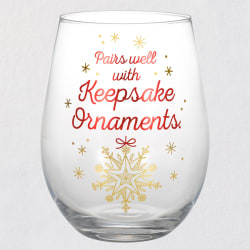 Pairs Well With Keepsake Ornaments Stemless Wine Glass, 17.5 oz.