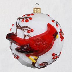 Cordial Cardinal Ball Blown Glass Ornament