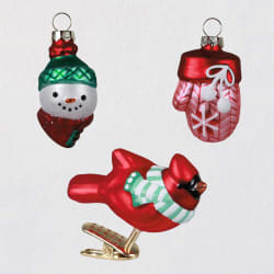 Holiday Happiness Blown Glass Ornaments, Set of 3