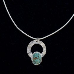 Turquoise Silver Circle Pendant - SOLD