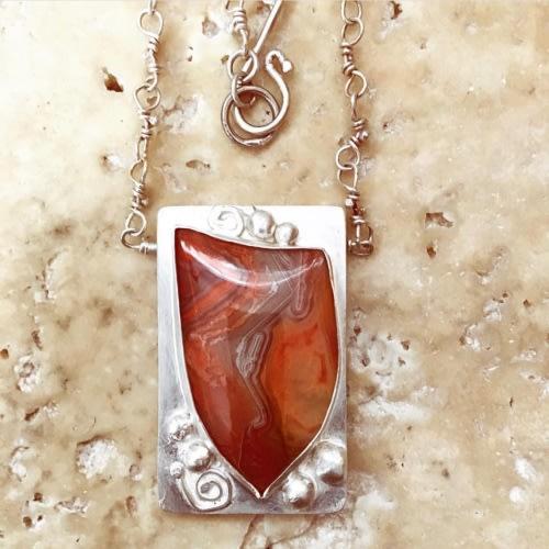 Orange Agate Shield Pendant - SOLD