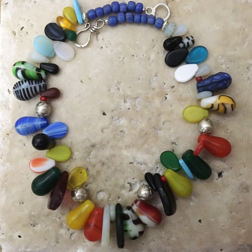 African Trade Bead Necklace - Blue