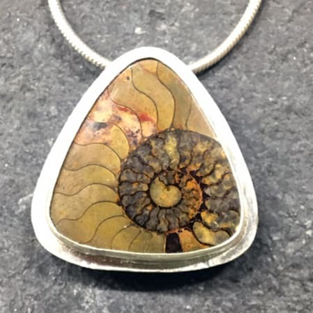 Ammonite in Matrix Pendant - SOLD