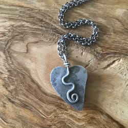 Kabamby Orbicular Ocean Jasper Heart Pendant