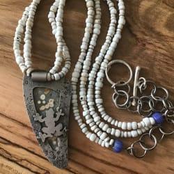 Orbicular Ocean Jasper Pendant w/ Vintage White Glass Beads