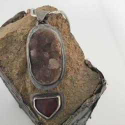 Amethyst Drusy & Pink Tourmaline Bead Pendant
